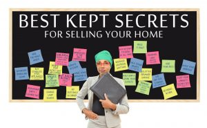 Selling your home: Best Kept Secrets for Selling Your home (Brighten, First Impression, Hide Pets, Closets Tidy and Half Empty) professional woman wearing head wrap holding binder isolated on white background